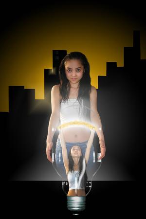 abstrakcje: fotografia w sztylet z abstrakcji z dziewczyną niosąc światło Zdjęcie Seryjne