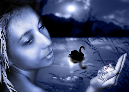 photography with scene of the girl in image of the mermaid ashore night river photo