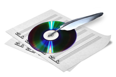 compact disk: photography with scene of the notes, fart and compact disk