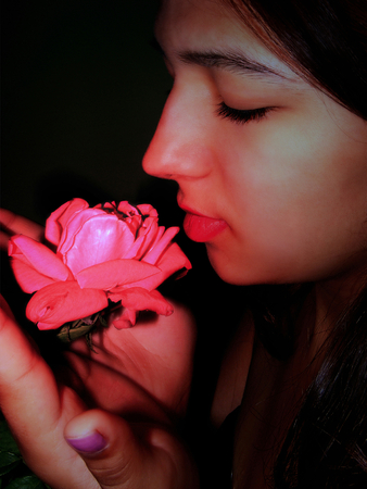 abstractions: photography in stiletto of the abstractions with scene of the girl and luminous rose