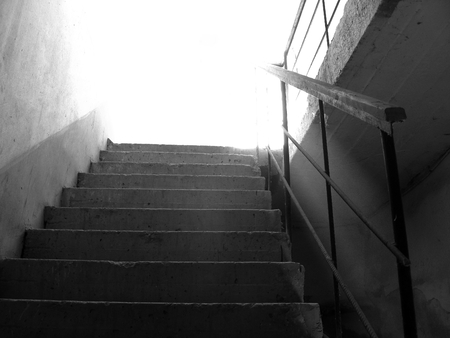 leading light: monochrome photography with scene of the stairway and steps leading to light