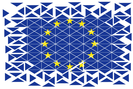 fission: illustration to subjects of the merging of the European alliance in geometric figures