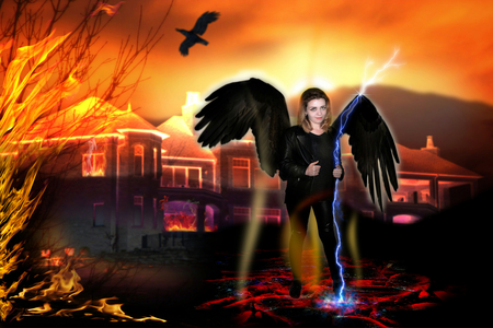 photography with element of the illustrations with scene of the girl in image of the black angel