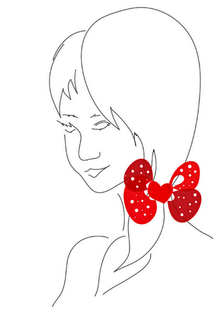 Contour illustration of the girl with red bow in white polka dots Illustration