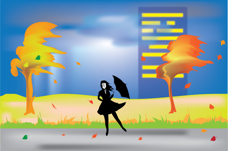 Vector Illustration with a girl on the street in the thunderstorms