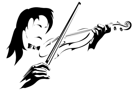 vector illustration with scene playing fiddler on violin in monochrome performance