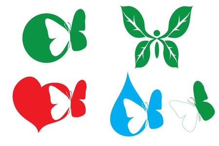 Vector illustration with scene logo with butterfly of the miscellaneous