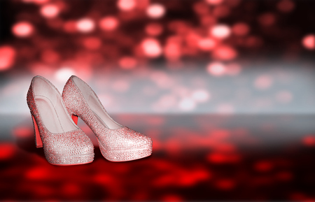 With ladies shoes with strass Stock Photo