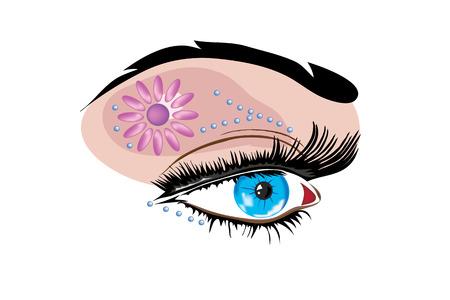 Vector illustration with scene feminine eye with original make-up Vettoriali