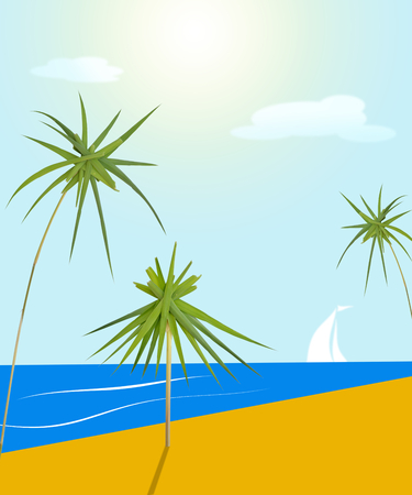 illustration with scene of the sea beach with palms tree and beach umbrella