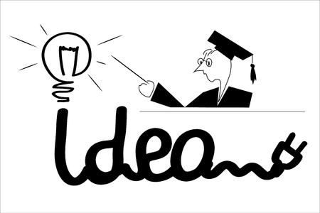 Illustration with electric cord as metaphor to ideas Illustration