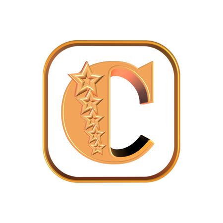 3D illustration letter C and five stars on white background