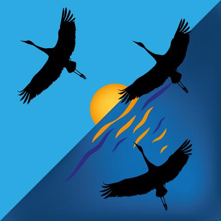 vector illustration with scene of the cranes on sundown sun  イラスト・ベクター素材