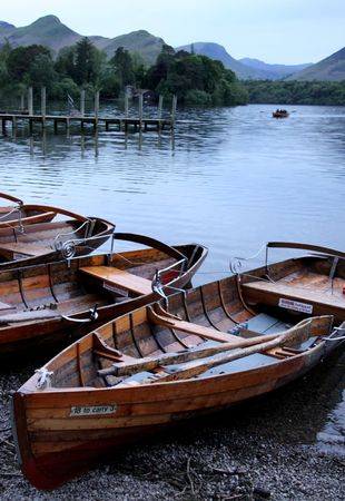 Wooden rowing  fishing boats on a lake in The Lake District