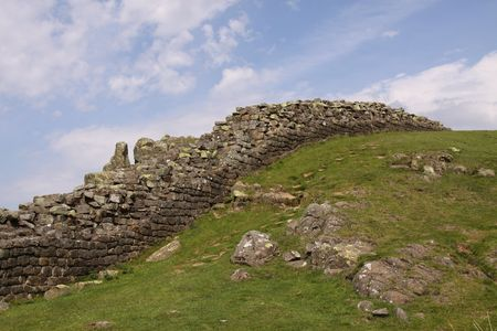 drystone: RURAL VIEW WITH DRY-STONE WALL AND SKY Stock Photo