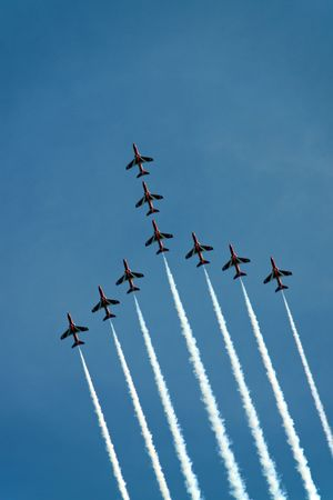 aerobatic: The Red Arrows RAF Airforce aerobatic, formation flying jet aeroplanes Stock Photo