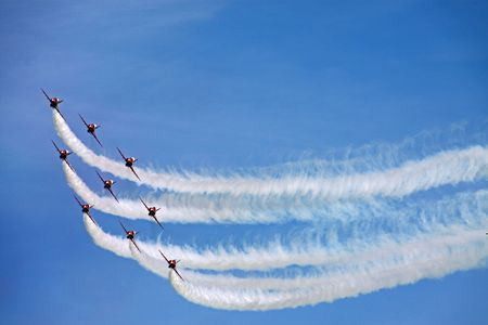 The Red Arrows RAF Airforce aerobatic, formation flying jet aeroplanes Stock Photo