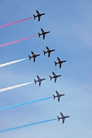 The Red Arrows RAF Airforce aerobatic, formation flying jet aeroplanes photo