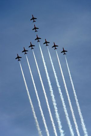 The Red Arrows RAF Airforce aerobatic, formation flying jet aeroplanes Banco de Imagens