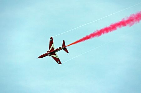 aerobatic: A Red Arrow RAF Airforce aerobatic, formation flying jet aeroplane Stock Photo
