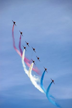 raf: The Red Arrows RAF Airforce aerobatic, formation flying jet aeroplanes Stock Photo