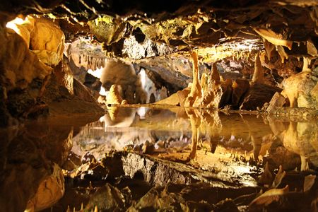 Cave view of stalactites  stalagmites inside the famous Cheddar Gorge, Mendip Hills in Somerset Stock Photo