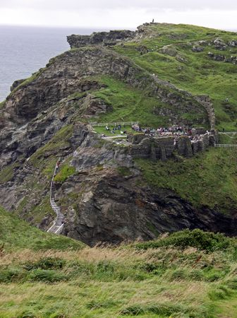 View of Tintagel castle in Cornwall, UK on cliff top