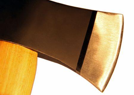 shaft: Hatchet  axe head and shaft on white background