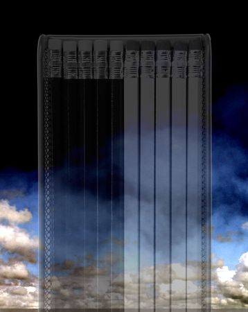 implement: Graphite art  drawing pencils on sky background