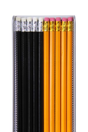 implement: Graphite art  drawing pencils on white background