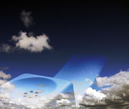 Telephone set - receiver and blue cloudy sky