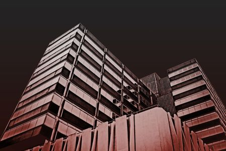 Urban office buildings on red abstract photo