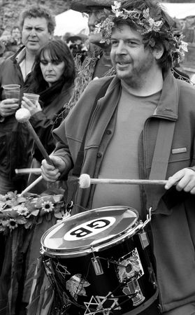 Hastings UK, May 4th 2009, Drummer at Jack In The Green Pagan Festival, May Day Weekend Stock Photo - 6884833
