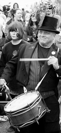 Hastings UK, May 4th 2009, Drummer at Jack In The Green Pagan Festival, May Day Weekend