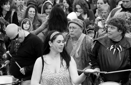 Hastings UK, May 4th 2009, Musicians and dancers at Jack In The Green Pagan Festival