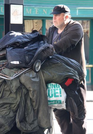 tramp: Croydon, London, UK, August 28th 2009, a homeless man with belongings