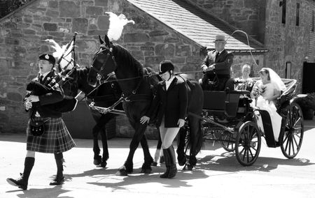 Gretna Green, Scotland, May 24th 2009, bride, best man and bridesmaids in horse and carriage