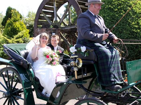 Gretna Green, Scotland, May 24th 2009, bride and groom in carriage at the famous Gretna Green