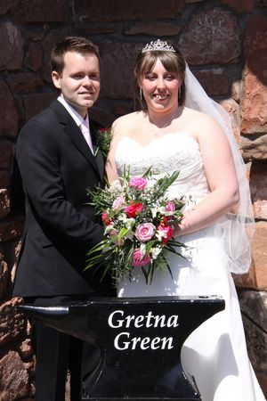 gretna green: Gretna Green, Scotland, May 24th 2009, bride and groom at the famous Gretna Green Editorial