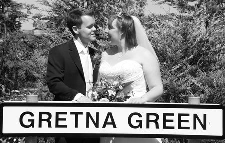 Gretna Green, Scotland, May 24th 2009, bride and groom at the famous Gretna Green Editorial