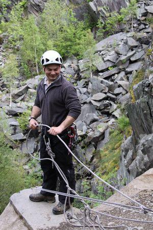 Keswick, The Lake District, Scotland, May 26th 2009, climbing instructor on cliff edge Stock Photo - 6885469