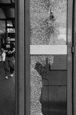 phonebooth: Croydon, London, UK, October 7th 2009, vandalised BT British Telecom phone box