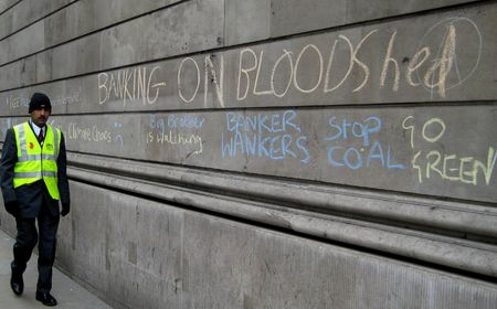 Bank Of England, Threadneedle Street, London, April 2nd 2009 protestors graffiti on the Bank of England walls and Security Officer