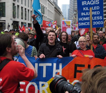 protestors: Bank Of England, Threadneedle Street, London, April 2nd 2009 protestors at the G20 Summit Protests on student Fight for Jobs march Editorial