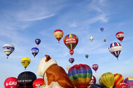 Bristol Balloon Fiesta, UK Saturday 8809 Colouful hot air balloons inflating and rising