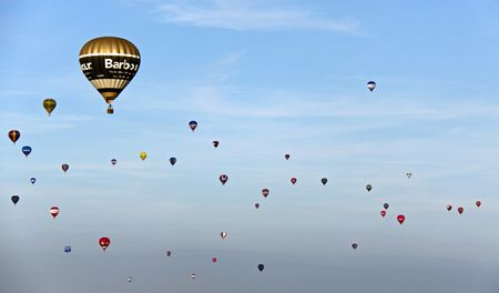 Bristol Balloon Fiesta, UK Saturday 8809 Colouful hot air balloons flying in the sky