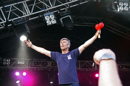 Guilfest Music Festival, Guildford, UK 12th July 2009 Mark Berry (Bez) of the Happy Mondays Indie band dancing on stage Stock Photo - 6886349