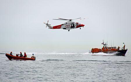 coastguard: Worthing Pier, Worthing, UK, 28th June 2009 lifeboats and helicopter of the UK R.N.L.I. coastguard Editorial