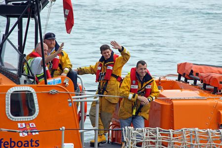 rescue west: Worthing Pier, Worthing, UK, 28th June 2009 lifeboat  life boat crew of the UK R.N.L.I. coastguard Editorial