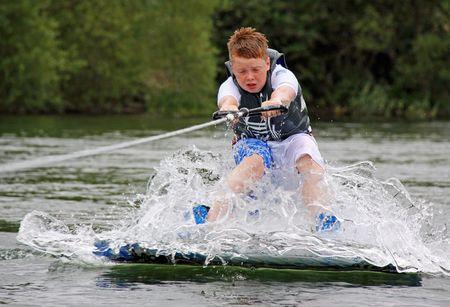 Heron Lake, Wraysbury, UK 1st August 2009 Water ski-ing  wakeboarder at the British Disabled Water Ski-ing Association BDWSA